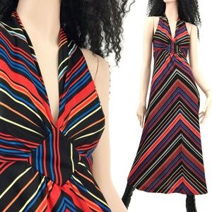 S Vintage 70s Colorful Neon Maxi Dress *$ FIRM*
